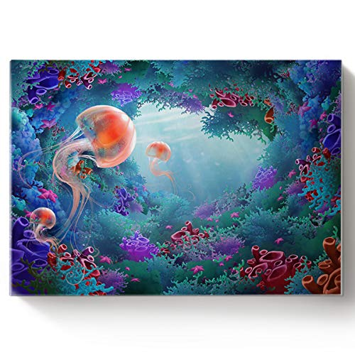 Arts Language Paint by Number Acrylic Kits for Adults Kids DIY Oil Paintings Canvas Framed Wall Art Decor for Livingroom Bedroom-Sea World Coral Reef Jellyfish 16x20in