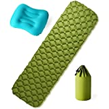 Exwell Ultralight Sleeping Pad, Self-Inflating Sleeping Pads for Camping, Backpacking, Traveling, Camping Mattress&Inflatable Neck Pillow Set