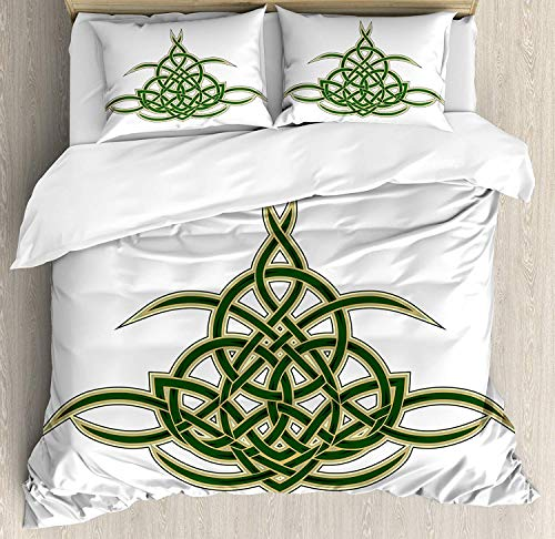 Celtic Duvet Cover Set, Original Celtic Shield Icon Gothic Design Abstract Scotland Medieval Style Art, 3 Piece Bedding Set with Pillow Shams, Queen/Full, Green ()