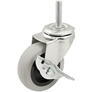 Heavy Duty TPR Rubber Caster Wheel with Swiveling Threaded Stem w/ Brake- 3-Inch -110 lb. Load Capacity-Non-Marking for use in Hospitals, Food Service, & Other Institutional Applications