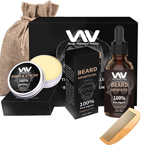 Beard Growth Kit, Beard Growth Oil Serum, Beard Grooming Balm, Stimulate Beard Growth for Men