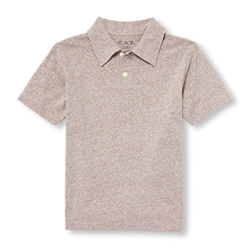 The Children's Place Big Boys' Short Sleeve Solid Polo, Chocolate Heart 09190, M (7/8)
