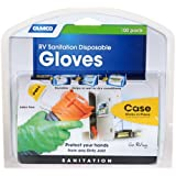 Camco Durable All Purpose RV Disposable Sanitation Gloves, Will Grip in Wet or Dry Conditions, Latex and Powder Free , Heavy Duty Nitrile- Orange (100 Gloves) (40286)