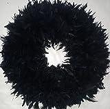 XLarge Black Feather Wreath...Fluffy Black Halloween Wreath - Gorgeous !