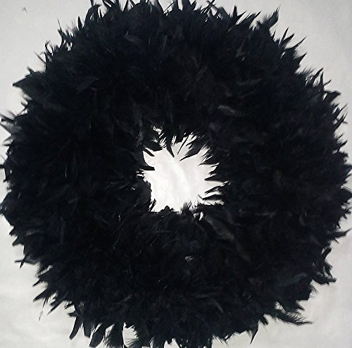 XLarge Black Feather Wreath...Fluffy Black Halloween Wreath - Gorgeous !