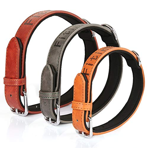 FitinPet Premium Genuine Leather Collar/Military Grade Trainning Hunting Soft Touch Padded and Durable for Big Large Medium Small Dogs (Large, Deep Brown)