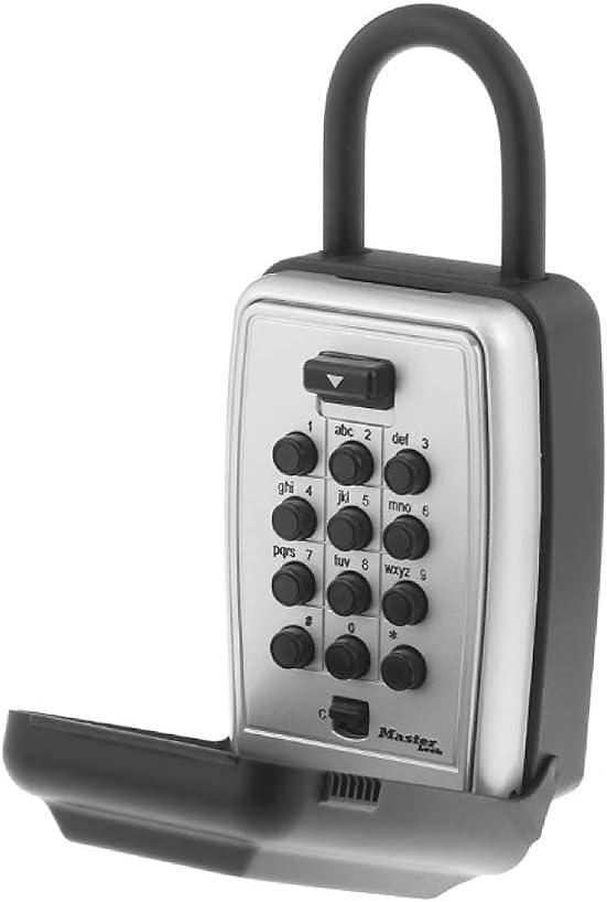 Master Lock 5422D Set Your Own Combination Portable Push Button Lock Box, 5 Key Capacity, Black - -