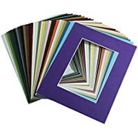 Mat Board Center, Pack of 20, 8x10 MIXED COLORS White Core Picture Mats Mattes Matting for 5x7 Photo