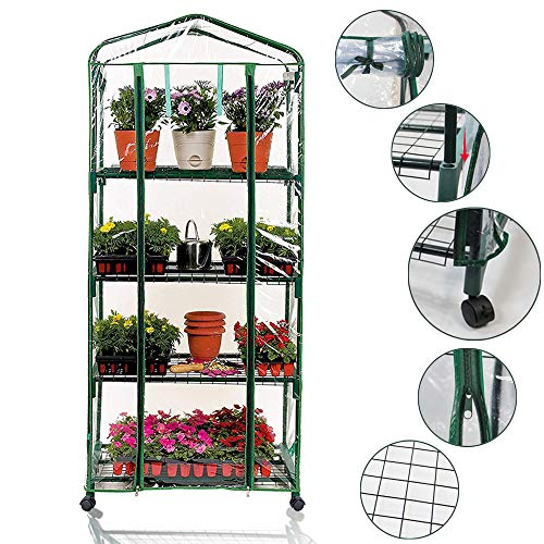 Homes Garden Updated Portable 4-Tier Mini Greenhouse with Removable Wheels Clear PVC Cover Indoor and Outdoor Greenhouse Double Zipper Roll Up Front 27 in. L x 19 in. W x 63 in. H #G-G303A01