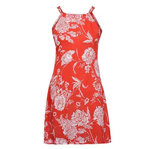 3ad36932b78eb Mysky Fashion Women Elegant Bohemian Floral Print Bowknot Mini Dress Ladies  Summer Casual Sleeveless Beach Dress Orange