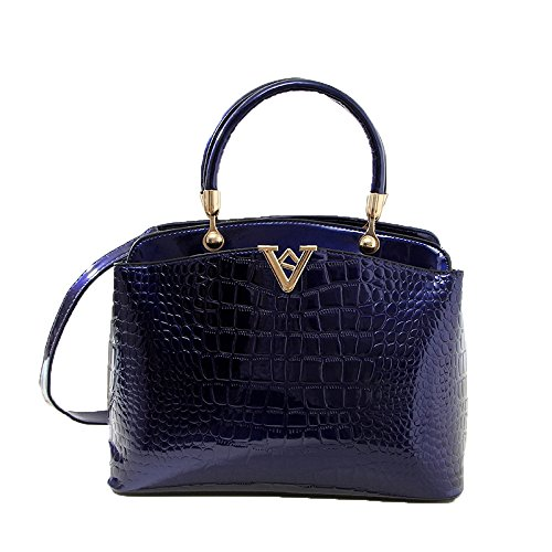 New European And American Fashion Trend High-end Crocodile Pattern V Word Shoulder Portable Temperament Handbag Blue