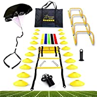 Big B Pro Sports Speed Agility Training Set – Includes Ladder, 20 Cones with Holder, Running Parachute, Jump Rope, Resistance Bands, and Hurdles for Training Football, Soccer, and Basketball Athletes