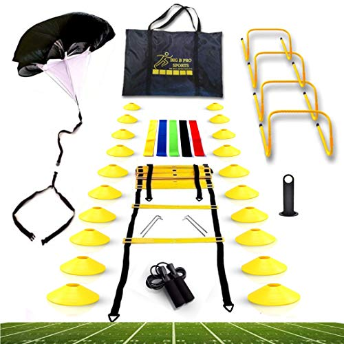Big B Pro Sports Speed Agility Training Set - Includes Ladder, 20 Cones with Holder, Running Parachute, Jump Rope, Resistance Bands, and Hurdles for Training Football, Soccer, and Basketball Athletes