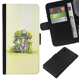 NEECELL GIFT forCITY // Billetera de cuero Caso Cubierta de protección Carcasa / Leather Wallet Case for Sony Xperia Z1 L39 // Monster Boy