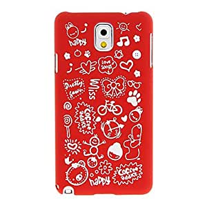 AES - Cartoon Characters Pattern Plastic Hard Back Case Cover for Samsung Galaxy Note3 N9000 , Red
