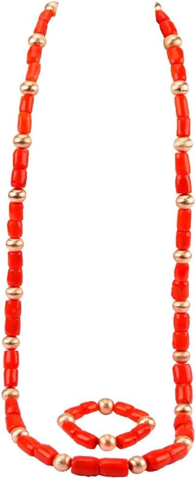 Coral rojo Joyas de oro rojo de la boda del regalo del collar pendientes establecidas para las novias Orange 48inches