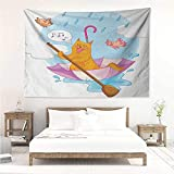 Kitten,The Art Tapestry Cute Cat Under The Umbrella Sail in The Clouds and Humor Cartoon Kids Nursery Theme 60W x 51L inch Fashion Wall Tapestry Multicolor