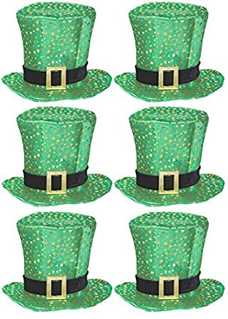 6 x Irish Fabric Top Hats with Gold Shamrocks   Buckle St Patricks Day  Adults Fancy 316b4d214646