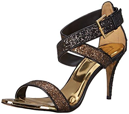 Ted Baker Women's Kahura Dress Sandal Black/Gold Satin