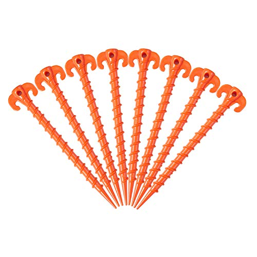 Lvgowyd 4/8/10 Pack Outdoor Tent Stakes, Canopy Stakes, Camping Stakes, Beach Tent Stakes Heavy Duty Screw Shape -7.9/10inch (10 inch +8 Pack +Orange)