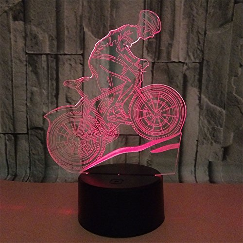 BEIGU Mountain Bike 3D Effect Illusion Lamp Optical Visual Table Light with Base 7 Colors Changing Lamps Study Decoration for Boy Child Birthday Gift