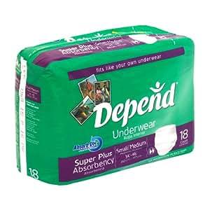 Depend Underwear Super Plus Absorbency Size Small/Medium Pk/18