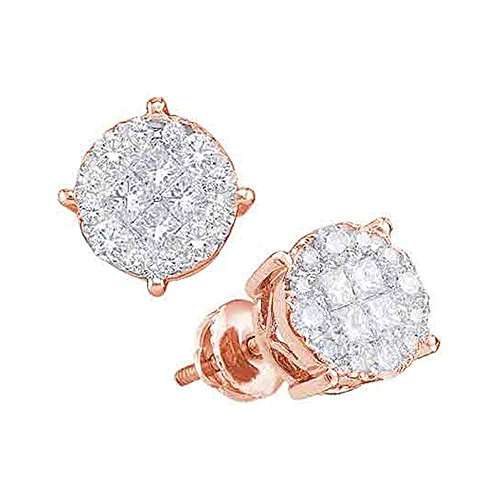 14kt Rose Gold Womens Princess Round Diamond Soleil Cluster Earrings 1/2 Cttw 14kt Gold Birthstone Cluster Earrings