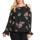 Gocheaper Womens Floral Print Cold Shoulder Long Sleeve Ruffle Shirt Blouse Tops (XXL, Black)