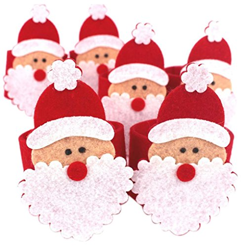 [Tenworld 4Pcs Christmas Santa Claus Napkin Rings Serviette Holder Table Serviette Xmas 6 PCS] (Grinch Costume Diy)