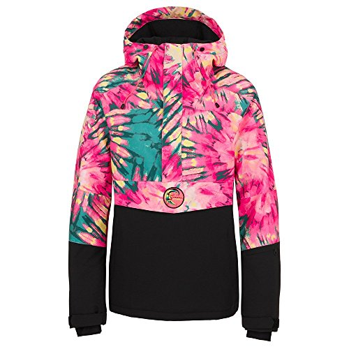 O'Neill Women's Frozen Wave Anorak, Pink AOP with Green, X-Small