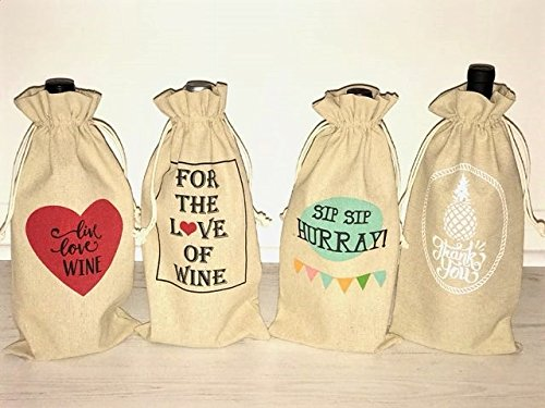 Set of 4 Festive Wine Bags, Great for Gifting!