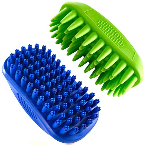 Rubber Dog Bath Brush Set by Tank & Sherman - Set of 2 Dog Brushes for Grooming - Four Point Bristle Dog Brush for Short Haired Dogs and Conical Bristle Dog Brush for Long haired Dogs