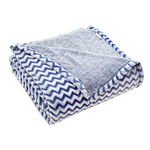"Flannel Fleece Throw Blanket for Couch - Chevron Stripe Throw - 60"" x 70"" Reversible Blanket - All Season Use - Sculpted Plush Luxury Blanket (Blue and White) 300GSM"