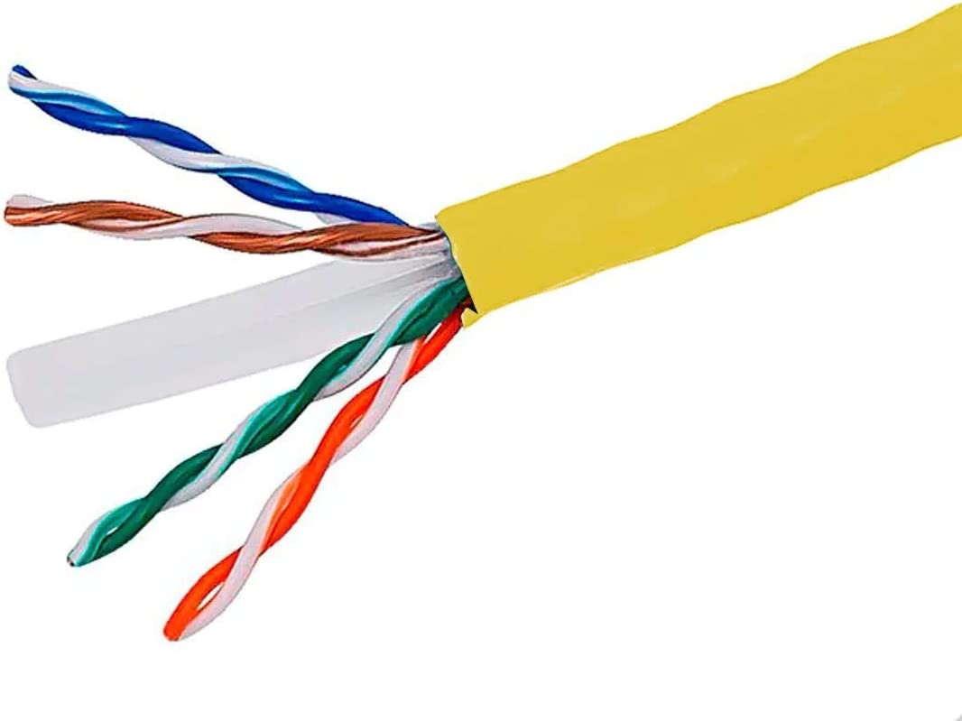 UTP Yellow Pure Bare Copper Wire Monoprice Cat6 Ethernet Bulk Cable 23AWG UL Solid CMR TAA Riser-Rated 500 Feet 550MHz