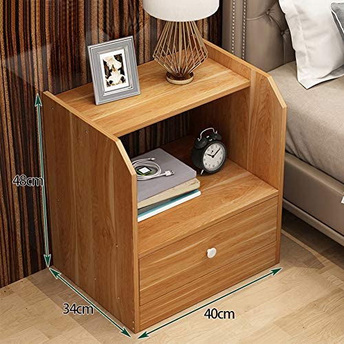 ZPEE Storage Bedside Drawer,Wooden Furniture Bedside Table Simple Modern Chic Storage Cabinet with Drawer End Table Floor Standing Cabinet Easy to Assemble F 40x34x48cm