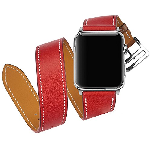 Price comparison product image CAILIN Apple Watch Bands 38mm Women,  Genuine Leather Bracelet Accessories Wristband Strap for Apple Watch Series 3 Series 2 Series 1,  Sport,  Hermes,  Nike+,  Edition (red,  42mm)