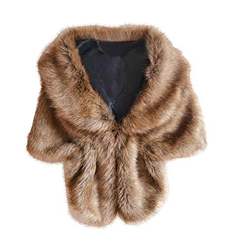 AMA(TM) Women Elegant Bridal Wedding Faux Fox Fur Shawl Wrap Shrug Scarf Cloak (Coffee)
