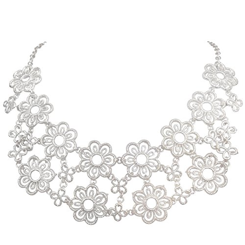 [Sweet Filigree Flowers Lace Look Boutique Statement Necklace - Assorted colors (Silver Tone)] (Little Girl Gypsy Costumes)