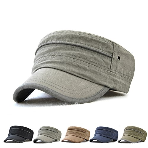 JAMONT Men's 100% Cotton Flat Top Cap Twill Classic Military Cadet Army Cap Hat Breathable Adjustable Size by JAMONT