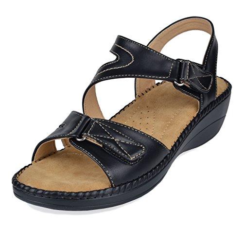 (DREAM PAIRS Women's Truesoft_06 Black Low Platform Wedges Slingback Comfort Sandals 8.5 B(M) US)