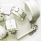 Luxury Soft White Bondage Restraints Handcuffs Collar Wrist Ankle Cuffs for Fetish Erotic Adult Games Couple Sex Produc anklecuffs