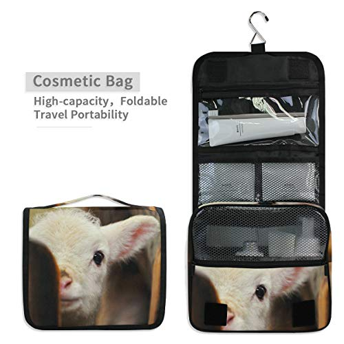 Toiletry Organizer Wash Bag,Cute Baby Lamb Sheep Portable travel bathroom shower bag Deluxe Large Capacity Waterproof Pouch Kit with Hook for Men and Woman