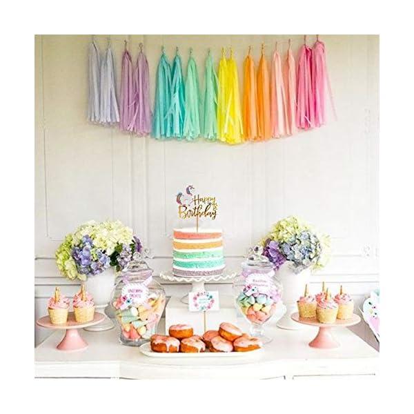 Matt Time Unicorn Happy Birthday Cake Topper Glitter for Kids Boys Girls Party Decorations Gold Acrylic 7