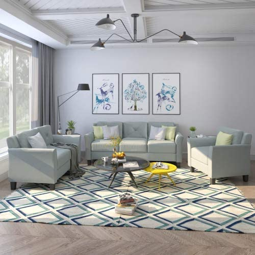 UNIROI Piece Living Room, 3 Seats Loveseat Single Chair Sofa Set, 1+2+3 Grey