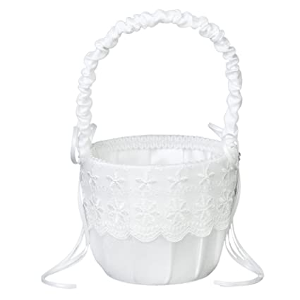 Amazon click down flower girl basket satin lace embellished click down flower girl basket satin lace embellished wedding supply white mightylinksfo
