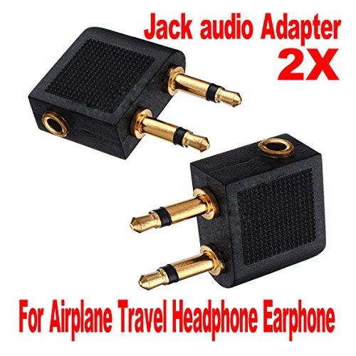 Pack of 2 Airline Airplane Earphone Headphone Headset Jack Audio Adapter 3.5mm