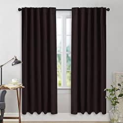 NICETOWN Bedroom Curtain Panels Blackout Shades - (Brown Color) 42 Inch x 72 Inch, 2 Pieces Set, Solid Fashin Home Decoration Thermal Insulated Room Darkening Drapes for Theater & Villa Window