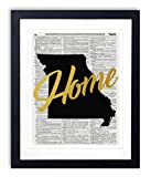 """Missouri Home Gold Foil Art Print - Vintage Dictionary Reproduction Art Print """"Home"""" Definition 8x10 inches Unframed"""