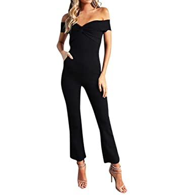 ffdbb08ba Women Holiday Off Shoulder Sleeveless Summer Beach Jumpsuit Romper Long  Pants Korean Elegant Tall Sizes (