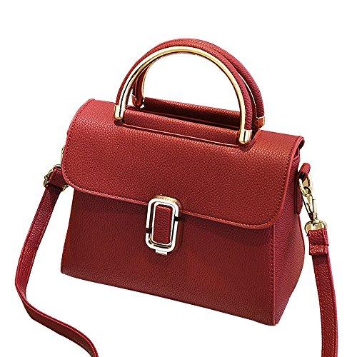 Small Square Tote Bag Shoulder Bag Smartphone Pouch Case Money Key Card Case Mini Messenger Bag Ladies/Women Handbags (Red)
